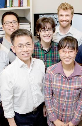 A team of researchers developed a new broad-spectrum antibiotic that kills bacteria by punching holes in their membranes. Front row, from left: Materials Science and Engineering Professor Jianjun Cheng and postdoctoral researcher Yan Bao. Back row, from left: postdoctoral researcher Menghua Xiong, graduate students Ziyuan Song and Rachael Mansbach, Materials Science and Engineering Professor Andrew Ferguson, and Biochemistry Professor Lin-Feng Chen.
