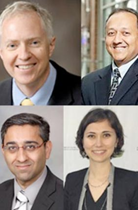 ONC-PM theme members include (from top left) theme leader Brian Cunningham (Electrical and Computer Engineering, Bioengineering); Rashid Bashir (Bioengineering); Timothy M. Fan (Veterinary Clinical Medicine); Auinash Kalsotra (Biochemistry); Benita S. Katzenellenbogen (Molecular & Integrative Physiology); Manish Kohli (Medical Oncology, Mayo Clinic); Zeynep Madak-Erdogan (Food Science  and Human Nutrition); Olgica Milenkovic (Electrical and Chemical Engineering); Andrew Smith (Bioengineering); and Liang Wan