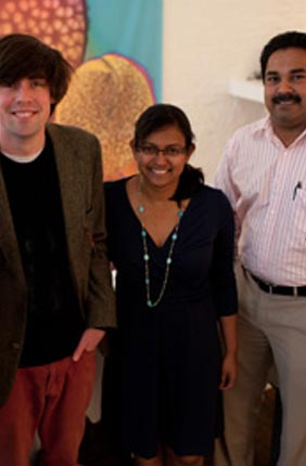 University of Illinois researchers (from left) Glenn Fried, Luke Mander, Surangi W. Punyasena and Mayandi Sivaguru release findings on what microscopy techniques are needed to identify the shape and texture of pollen grains.