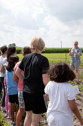Field trips for the camp included an excursion to SoyFACE, the Soybean Free Air Concentration Enrichment facility located on the South Farms.