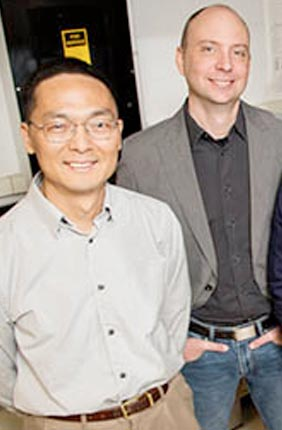From left: Illinois chemical and biomolecular engineering professors Huimin Zhao and Charles Schroeder, along with graduate students Luke Cuculis and Zhanar Abil, published their work in the journal Nature Chemical Biology.