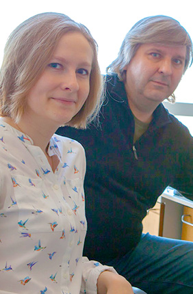 "PhD student Veronika Dubinkina, left, with Bliss Faculty Scholar and Professor of Bioengineering Sergei Maslov, applied the theoretical concept of the ""stable marriage problem"" to microbial communities."