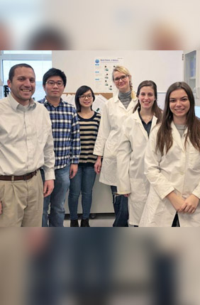 Members of the research team (right to left): Bioengineering seniors Erin Tevonian and Melina Megaridis, Post-doctoral fellow Kathrin Bohn-Wippert, Bioengineering graduate students Meng-Yao Huang and Yiyang Lu, and Professor Roy Dar.