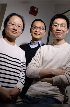 Illinois researchers developed a technique to unmute silent genes in Streptomyces bacteria using decoy DNA fragments to lure away repressors. Pictured, from left: postdoctoral researcher Fang Guo, professor Huimin Zhao and postdoctoral researcher Bin Wang.