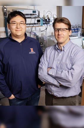 Chemical and biomolecular engineering professor and department chair Paul Kenis, right, and graduate student Shawn Lu are co-authors of a new study that examines the feasibility of a new CO2 waste-to-value technology.