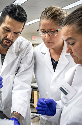 Indigenous and non-Indigenous scholars, students and scientists participated in the SING workshop at the Carl. R. Woese Institute for Genomic Biology at the U. of I. SING alumnus Justin Lund, left, with researchers Jessica Blanchard and Yarrow Vaara, in the lab.