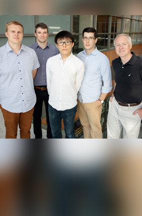 Illinois researchers developed a method to detect cancer markers called microRNA with single-molecule resolution, a technique that could be used for liquid biopsies. From left: postdoctoral researcher Taylor Canady, professor Andrew Smith, graduate student Nantao Li, postdoctoral researcher Lucas Smith and professor Brian Cunningham.
