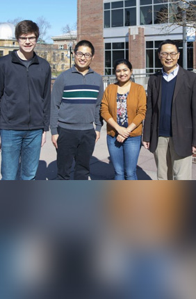 University of Illinois Department of Chemical and Biomolecular Engineering scientists (from left) William L. Lyon, Mingfeng Cao, Zia Fatma, and Huimin Zhao.