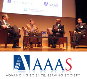 "A panel consisting of Gene Robinson, John Rogers, Todd Coleman, and Rashid Bashir discuss the future of bioengineering at ""Visionary Frontiers at the Convergence of Biology, Medicine and Engineering"" in Washington, D.C."