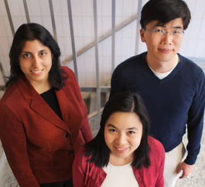 A research team led by Professor of Physics Taekjip Ha, above right, has found that DNA uncoils from the nucleosome asymmetrically (uncoiling from one end much more easily) in a recent publication in Cell.