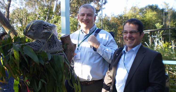 Professor of Animal Sciences Alfred Roca (left) with Alex Greenwood of the Leibnitz Institute, Berlin at the San Diego Zoo.
