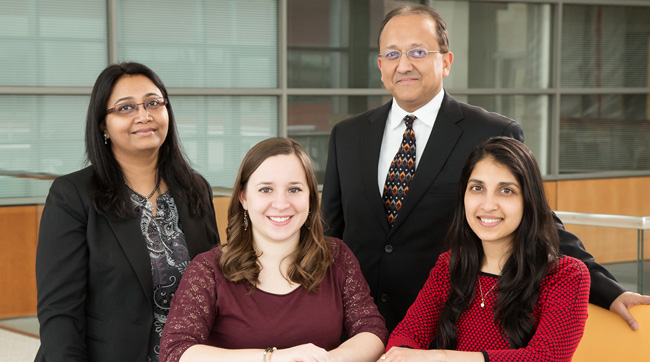 Researchers at Illinois developed the miniature biological robots. Pictured from left: research professor Parijat Sengupta, graduate student Caroline Cvetkovic, professor Rashid Bashir and graduate student Ritu Raman.