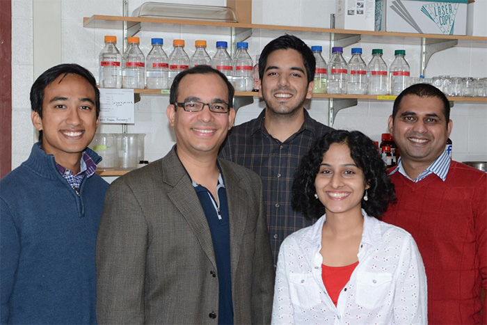 Left to right are: Edrees H. Rashan, Auinash Kalsotra (Assistant Professor of Biochemistry and Medical Biochemistry), Waqar Arif, Amruta Bhate, and Sandip Chorghade