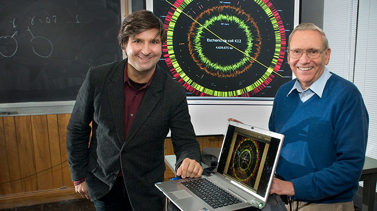 Professor and Bliss Faculty Scholar Sergei Maslov, left, with biophysicist William Studier.