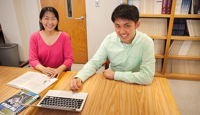 Research specialist and first author Yasuko Ishida (left) with graduate student Kai Zhao.