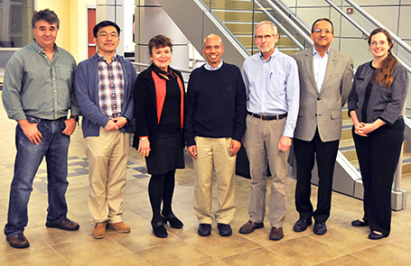 Pictured here, left to right: Gabriel Popescu, Hyunjoon Kong, Martha Gillette, Taher Saif, EBICS Director Roger Kamm of MIT, Rashid Bashir, and Program Coordinator Carrie Kouadio.