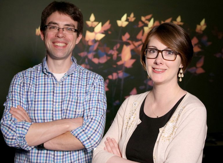 Assistant Research Professor of Astronomy Matthew Turk, left, with Assistant Professor of Plant Biology Amy Marshal Colón