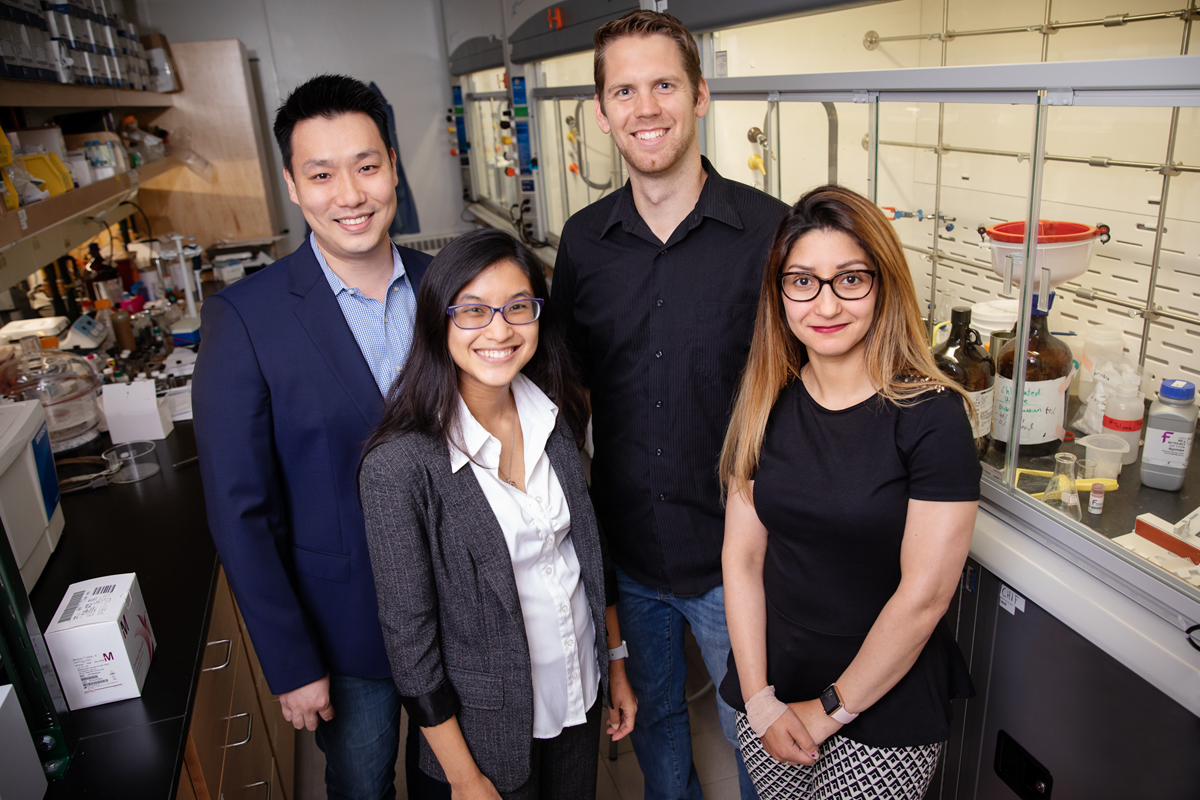 University of Illinois researchers developed a molecular probe that can tag and track elusive cancer stem cells in both cell cultures and live organisms. From left: Chemistry professor Jefferson Chan, graduate students Chelsea Anorma and Thomas Bearrood, and postdoctoral researcher Jamila Hedhli.