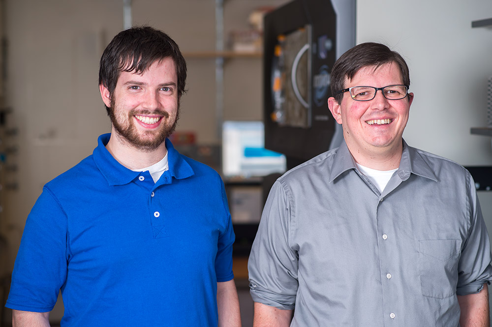 Kyle Grim, left, and Thomas Kiehl-Fie studyed how bacteria compete for zinc in the human body.