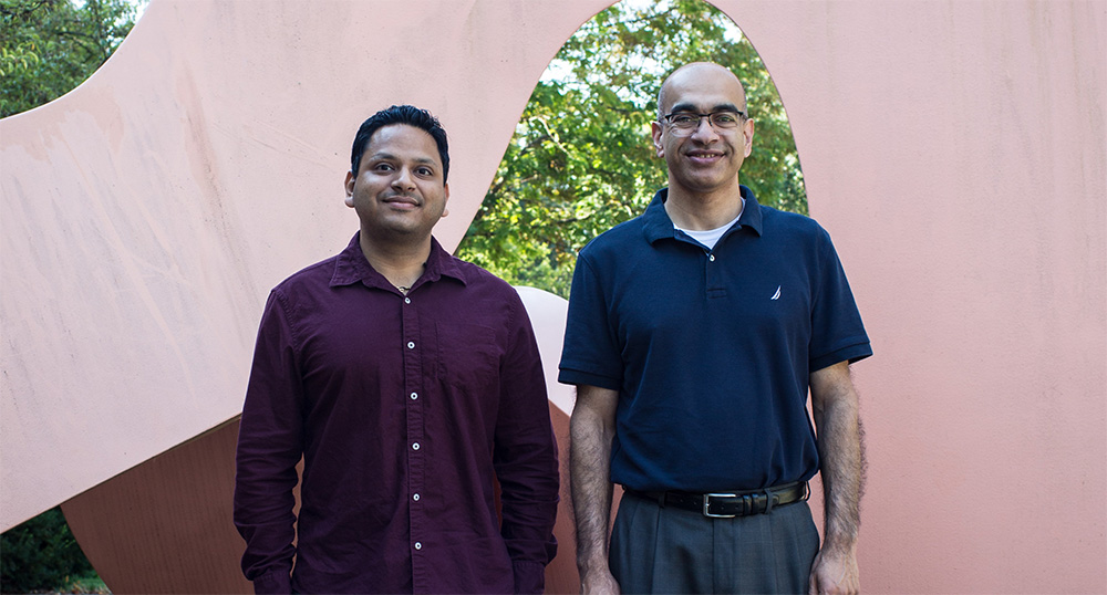 Deepak Kumar, a postdoctoral researcher at the University of Illinois, and Vijay Singh, Director of the Integrated Bioprocessing Research Laboratory, led work to show the economic viability of a promising new feedback to produce sustainable bio-jet fuel. Credit: Claire Benjamin/University of Illinois