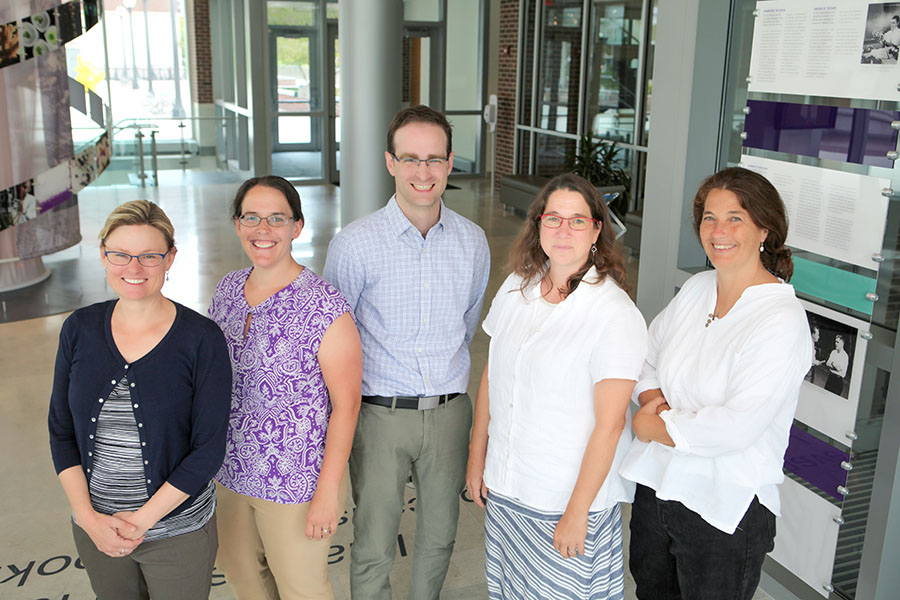 Members of the Infection Genomics for One Health theme, include (left to right) Joanna Shisler, Associate Professor of Microbiology; Rebecca Smith, Assistant Professor of Epidemiology; Patrick Degnan, Assistant Professor of Microbiology; Rachel Whitaker, Associate Professor of Microbiology; and Rebecca Stumpf, Professor of Anthropology